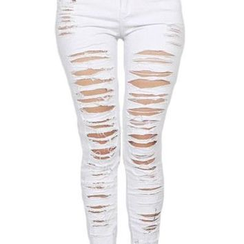 Chicloth White Denim Destroyed High-waist Skinny Jeans