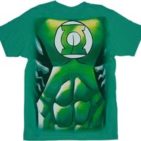 Green Lantern Muscle Costume Print Green Adult T-shirt