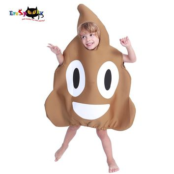 Carnival Cute Funny Halloween Costume For Kids Unisex Cartton Poop Emoji Cosplay Fancy Dress Boys Jumpsuit Novelty Clothes