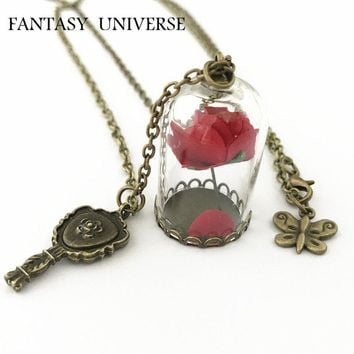 FANTASY UNIVERSE Freeshipping 1pc a lot Beauty and The Beast Enchanted Rose in Terrarium and mirror charm necklace MVYS01