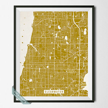 Clearwater Print, Florida Poster, Clearwater Street Map, Florida Map Print, FL, Tampa Bay, Home Wall Art, Office Decor, Back To School