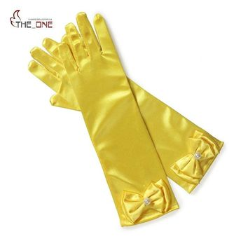 MUABABY 12 colors Girls Princess Cosplay Accessories Baby Satin Costume Bow Gloves Princess Party Supplies Girl Birthday Gift