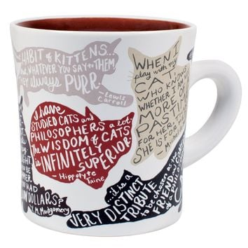 PHILOSPHERS GUILD LITERARY CAT MUG