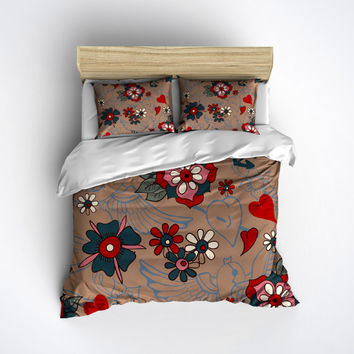 Flower & Swallow Tattoo Bedding - Tattoo inspired design! - Sugar Skull Bed Linen, Sugar Skull Bedding Set