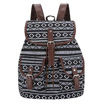 School Backpack trendy SANSARYA 2018 New Woven Fabric Female Bagpack Aztec Women Backpack Bohemia Boho Laides Drawstring Rucksack Girls School Bags AT_54_4