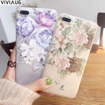 VIVIAUG For apple iphone 6 6s 7 Plus case cover Silicone Soft TPU Flower 3D Relief painting Phone Cases For iPhone 8 X cover New