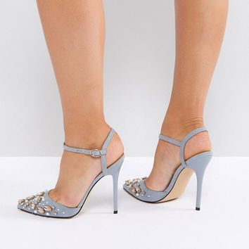 Office Hottentot Gray Embellished Heeled Shoes at asos.com