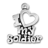 Sterling Silver Pendant I Love My Soldier Words Heart Comes with a Split Ring
