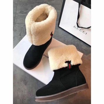 PEAPUX5 Gucci Snow Wool Boots Black Women Gaotong Boots Thickened Flat Shoes