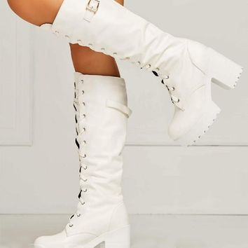 New White Round Toe Chunky Buckle Cross Strap Fashion Knee-High Boots