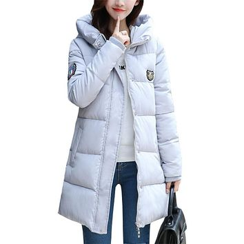 Korean winter jacket women new feather padded coats Girls long straight big yards thick winter coat clothing vestidos RLD029