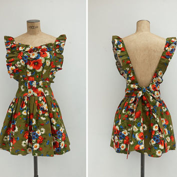 1970s Pinafore - Vintage 70s Floral Pinafore Dress - El Campito Pinafore Dress