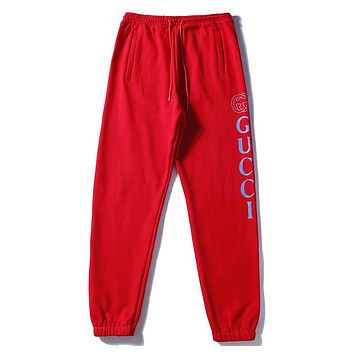 GUCCI early autumn letter printing men and women models elastic casual pants F-A-KSFZ red