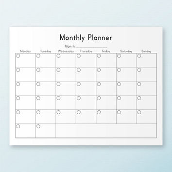 MONTHLY PLANNER Printable PDF Letter Size 8.5 x 11 Printable Planner Pages Refills  Agenda Book Monthly Calendar Inserts Instant Download