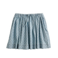 crewcuts Girls Drawstring Skirt In Chambray Dot