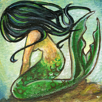 Mermaid Print, Black Hair, 8x10 Wall Art, Fantasy Illustration, Lying Mermaid, Underwater Picture, Nautical Decor, Green Brown, Girls Gift