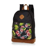 River Island MensBlack floral print canvas backpack