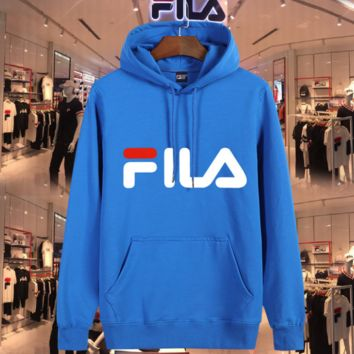 FILA Fashion Casual print sweater hoodie pullover Blue