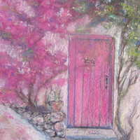 The Pink Door, Pastels  and Acrylics, fine art, wall art, Print of Original Artwork Painting