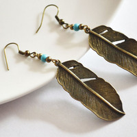 Tribal Inspired Earrings. Feather and Turquoise Bead Earrings. Tribal Feather Jewelry.