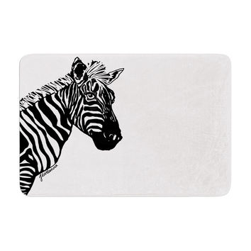 "Geordanna Cordero-Fields ""My Zebra Head"" Black White Memory Foam Bath Mat"