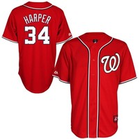 Bryce Harper Washington Nationals #34 Majestic Replica Jersey - Red