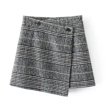 2017 autumn winter plaid wool skirt women skirt elegant irregular black white plaid mini skirts womens saia midi faldas