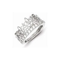 Sterling Silver Fleur-de-lis Crown CZ Ring: RingSize: 7