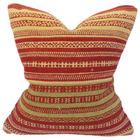 Moroccan Red & Cream Stripe Woven Pillow