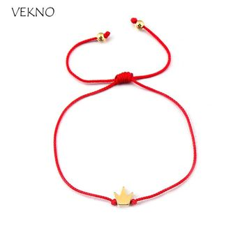 VEKNO 2pcs/Set Lucky Golden Crown Handmade Bracelets for Couple Lover Best Friend Adjustable String Rope Bracelet Charm Jewelry