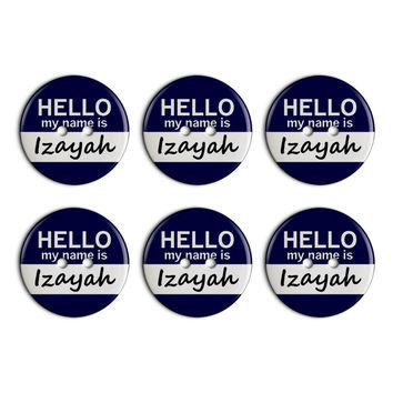 Izayah Hello My Name Is Plastic Resin Button Set of 6