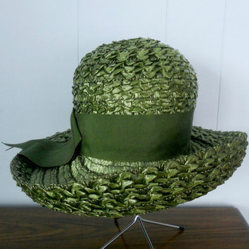 Vintage Green Hat Schiaparelli Woven Straw by houseofheirlooms