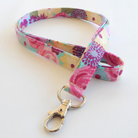 Floral Lanyard / Flower Keychain / Colorful Floral Print / Key Lanyard / ID Badge Holder / Flowers / Pretty Lanyard / Teal & Pink