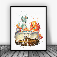 Lady and the Tramp Art Print Poster