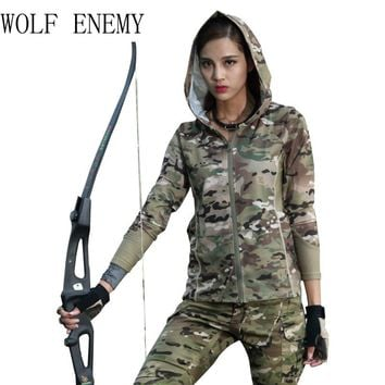 New Multicam Camouflage Women's Hoodies & Sweatshirt 100% Polyster Zip-up Shirt MTP MCBK MCA MC Alphin
