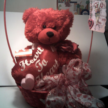 Plush Red Teddy Bear in VALENTINE Gift BASKET with beautiful Swarovski RING Big Stuffed animal Keepsake trinket box Rose