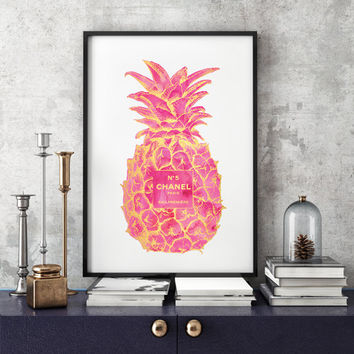 Gold & Pink Pineapple Chanel No5 Print, Pineapple, Chanel,coco Chanel,Pineapple, No5 ,Guest Room Decor, Tropical Wall Art, fashion poster