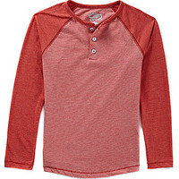 First Wave 8-20 Striped Henley Raglan Top - Orange