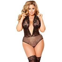 Sexy Plus Size Cabaret Collection Lingerie Teddy
