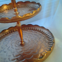 Vintage Copper Tiered Tray Tidbit Tray Farmhouse Style Mid Century Shabby Chic Gorgeous Copper Tray