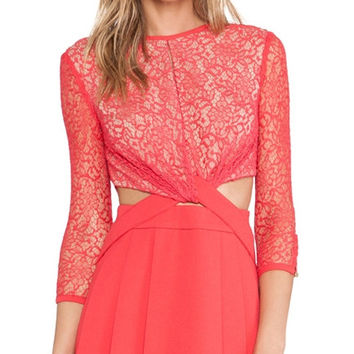 Red Lace Sleeve Dress with Waist Cut-out