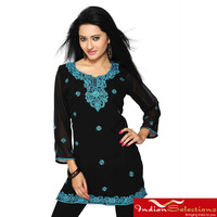 Georgette Black with Turquoise Embroidery Kurti/ Tunic (India) | Overstock.com