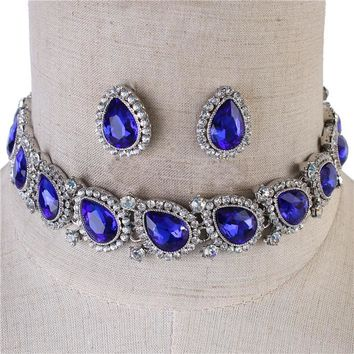 """13"""" crystal choker necklace 1"""" earrings .75"""" wide bridal prom"""
