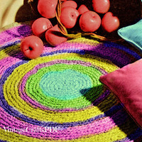 Crochet Pattern   Fabric Rug   Kitchen Rug-Mat-Oval Rug-Sunburst Mat-Bathroom Rug-Vintage Crochet Pattern-Upcycle Clothes   Direct from USA