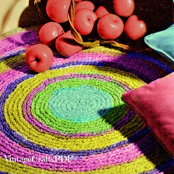 Crochet Pattern | Fabric Rug | Kitchen Rug-Mat-Oval Rug-Sunburst Mat-Bathroom Rug-Vintage Crochet Pattern-Upcycle Clothes | Direct from USA