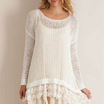 Lace Bottom Tunic Sweater - Ivory