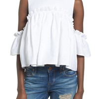 J.O.A. Linen Cold Shoulder Top | Nordstrom