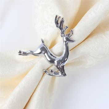 ROSENICE Elk Deer Napkin Rings Table Decorative Ornament for Christmas Wedding Parties Everyday Use