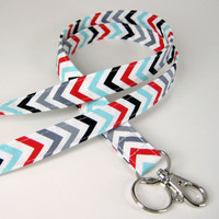 Fabric Lanyard - ID Badge and Key Ring - Robert Kaufmann Remix ZigZags Celebration