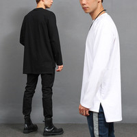 Loose Fit Unbalanced Long Back Hem Long Tee